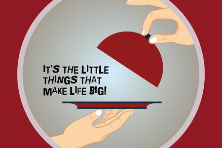 Conceptual hand writing showing It's The Little Things That Make Life Big. Business photo text Find beauty in small details Hu analysis Hands Serving Tray Platter and Lifting the Lid Banque d'images - 115223262