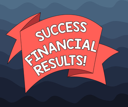 Writing note showing Success Financial Results. Business photo showcasing amount of profit a company makes during a period Folded 3D Ribbon Strip Solid Color Blank Sash photo for Celebration