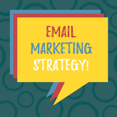 Writing note showing Email Marketing Strategy. Business photo showcasing plan of action to promote products and services Stack of Speech Bubble Different Color Piled Text Balloon Zdjęcie Seryjne