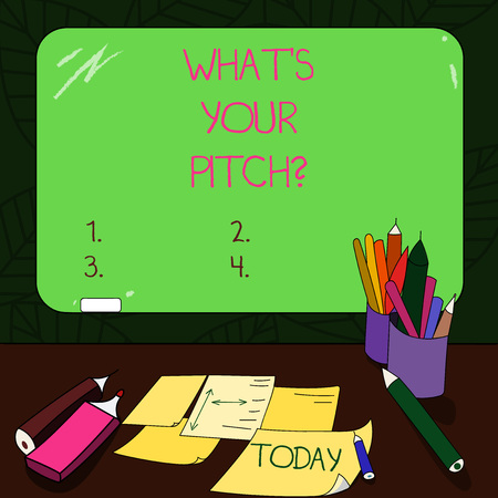 Text sign showing What S Is Your Pitch question. Conceptual photo make a determined effort to get something Mounted Blank Color Blackboard with Chalk and Writing Tools Sheets on Desk