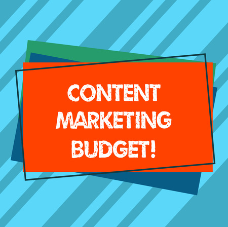 Writing note showing Content Marketing Budget. Business photo showcasing Promotional costs over a certain period of time Pile of Blank Rectangular Outlined Different Color Construction Paper Фото со стока