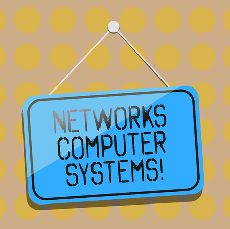 Word writing text Networks Computer Systems. Business concept for Devices link together to facilitate communication Blank Hanging Color Door Window Signage with Reflection String and Tack 스톡 콘텐츠