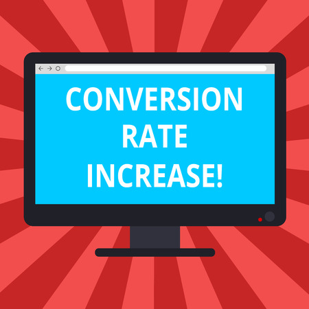 Conceptual hand writing showing Conversion Rate Increase. Business photo text Percentage of users who take a desired action Blank Computer Monitor Color Screen Mounted with Progress Bar