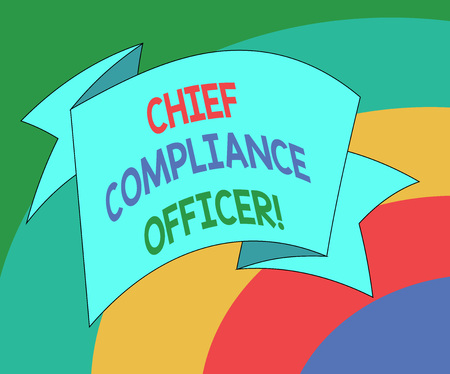 Conceptual hand writing showing Chief Compliance Officer. Business photo showcasing oversees the Corporate Compliance Program Folded Ribbon Strip Solid Color Sash photo for Celebration