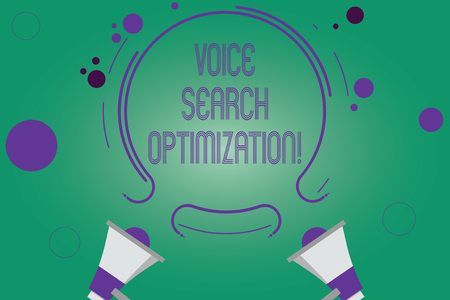 Writing note showing Voice Search Optimization. Business photo showcasing enhance web searching through spoken comanalysisds Two Megaphone and Circular Outline with Small on Color Background