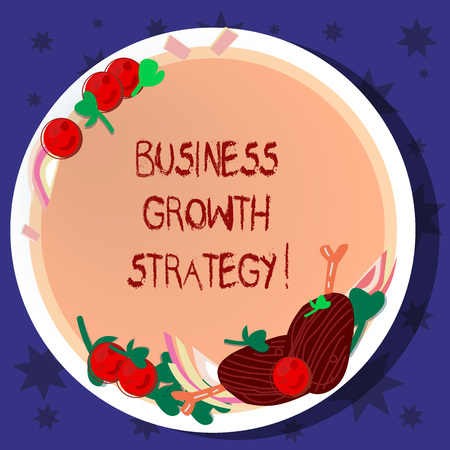 Word writing text Business Growth Strategy. Business concept for Larger market share Market penetration Acquisition Hand Drawn Lamb Chops Herb Spice Cherry Tomatoes on Blank Color Plate