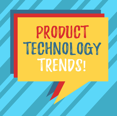 Text sign showing Product Technology Trends. Conceptual photo Readily accepted in the market Becoming popular Stack of Speech Bubble Different Color Blank Colorful Piled Text Balloon 版權商用圖片