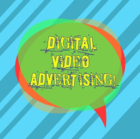 Writing note showing Digital Video Advertising. Business photo showcasing Engage audience in the form of video content Blank Speech Bubble photo and Stack of Transparent Circle Overlapping