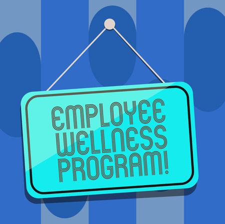 Handwriting text Employee Wellness Program. Concept meaning Help improve the health of its labor force Blank Hanging Color Door Window Signage with Reflection String and Tack