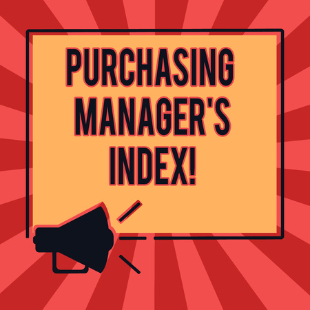 Conceptual hand writing showing Purchasing Manager S Index. Business photo text indicator of economic health for analysisufacturing Megaphone Sound icon Outlines Square Loudspeaker Text Space photo Reklamní fotografie
