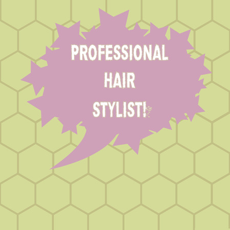 Conceptual hand writing showing Professional Hair Stylist. Business photo text A demonstrating whose occupation is to cut or style hair Oval Color Speech Bubble with Stars as Outline Text Space