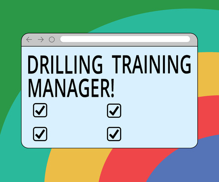 Conceptual hand writing showing Drilling Training Manager. Business photo text Give the staff the understanding drilling process Monitor Screen with Progress Control Bar Blank Text Space Reklamní fotografie