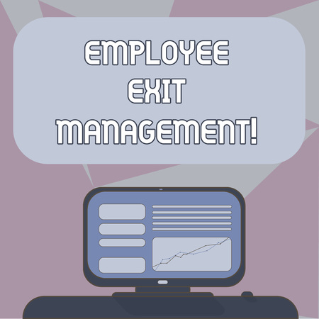 Writing note showing Employee Exit Management. Business photo showcasing Separation process when an employee resign Mounted Computer Screen with Line Graph on Desk Blank Color Text Box 写真素材