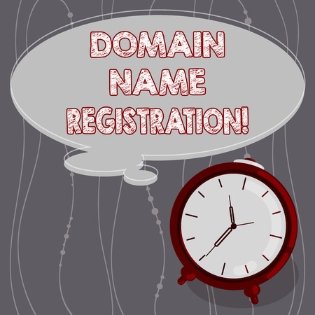 Text sign showing Domain Name Registration. Conceptual photo process of reserving a name on the Internet Blank Color Thought Speech Bubble with Outline and Alarm Clock photo