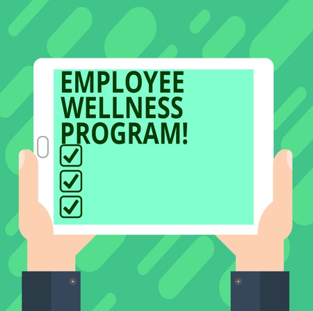 Conceptual hand writing showing Employee Wellness Program. Business photo text Help improve the health of its labor force analysis Hand Holding Tablet Smartphone Display Unit photo
