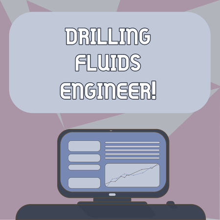 Writing note showing Drilling Fluids Engineer. Business photo showcasing A demonstrating in charge for testing the mud at a rig Mounted Computer Screen with Line Graph on Desk Blank Color Text Box