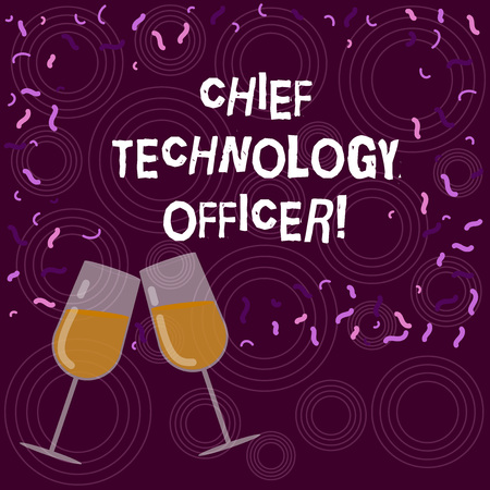 Writing note showing Chief Technology Officer. Business photo showcasing focused on scientific and technological issues Filled Wine Glass for Celebration with Scattered Confetti photo