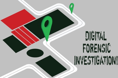 Word writing text Digital Forensic Investigation. Business concept for recovery of information from computers Road Map Navigation Marker 3D Locator Pin for Direction Route Advisory