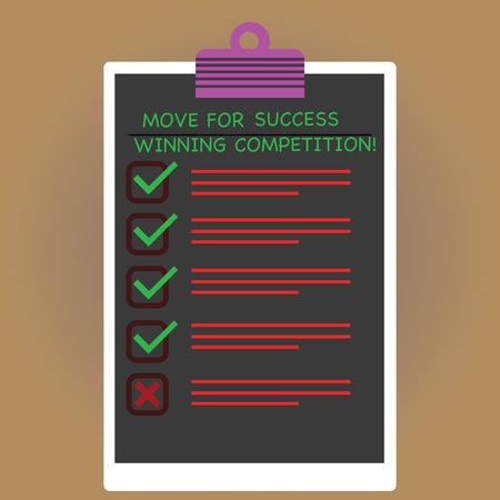 Conceptual hand writing showing Move For Success Winning Competition. Business photo text Make the right moves to win the game Vertical Clipboard with Check Box photo Blank Copy Space