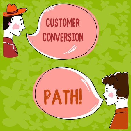 Handwriting text Customer Conversion Path. Concept meaning steps that user went through over the website Hand Drawn Man and Wo analysis Talking photo with Blank Color Speech Bubble Reklamní fotografie