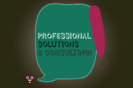 Text sign showing Professional Solutions And Consulting. Conceptual photo Business strategy good services Blank Color Speech Bubble Outlined with Exclamation Point Monster Face icon Imagens