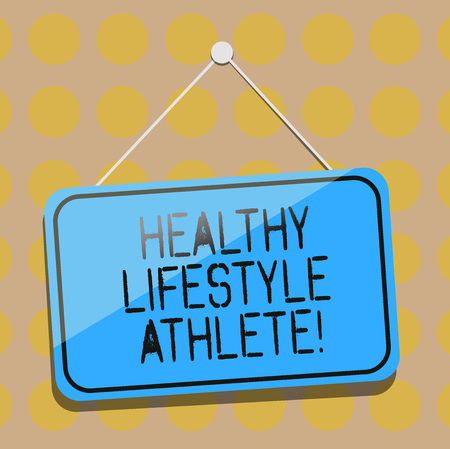 Word writing text Healthy Lifestyle Athlete. Business concept for Good nutrition and a healthy food consumption Blank Hanging Color Door Window Signage with Reflection String and Tack Foto de archivo