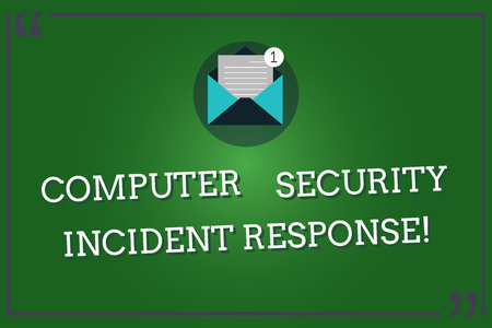 Word writing text Computer Security Incident Response. Business concept for Technology errors safety analysisagement Open Envelope with Paper New Email Message inside Quotation Mark Outline Stock Photo