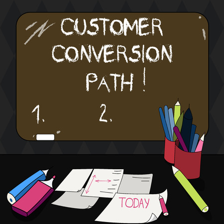 Text sign showing Customer Conversion Path. Conceptual photo steps that user went through over the website Mounted Blank Color Blackboard with Chalk and Writing Tools Sheets on Desk Reklamní fotografie