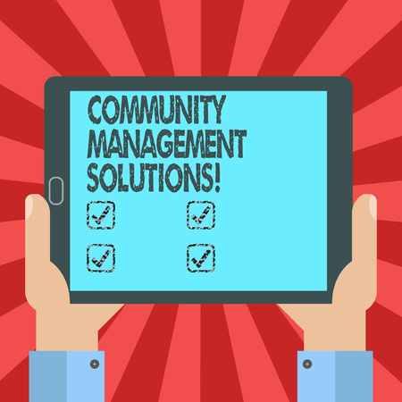 Conceptual hand writing showing Community Management Solutions. Business photo text Manage and engage the community of your brand Hu analysis Hand Holding Tablet Smartphone Display Unit photo Stock fotó