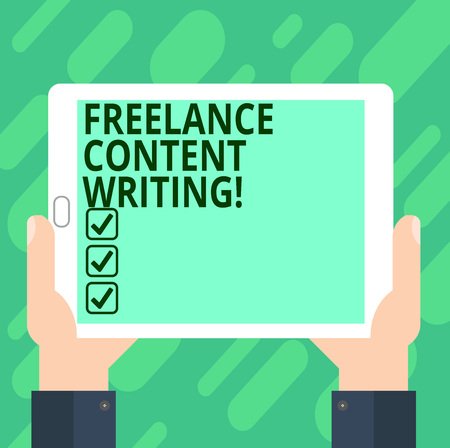 Conceptual hand writing showing Freelance Content Writing. Business photo text online writing linked to web marketing campaign Hu analysis Hand Holding Tablet Smartphone Display Unit photo Stock fotó