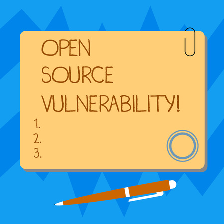 Word writing text Open Source Vulnerability. Business concept for Publicized Exploits are open to malicious users Blank Square Color Board with Magnet Click Ballpoint Pen Pushpin and Clip