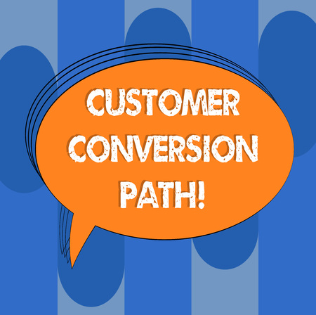 Handwriting text Customer Conversion Path. Concept meaning steps that user went through over the website Blank Oval Outlined Solid Color Speech Bubble Empty Text Balloon photo