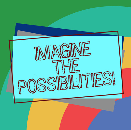 Text sign showing Imagine The Possibilities. Conceptual photo sense that something is able to happen soon Pile of Blank Rectangular Outlined Different Color Construction Paper
