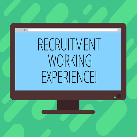Conceptual hand writing showing Recruitment Working Experience. Business photo text Employers prefer graduates with expertise Blank Computer Monitor Color Screen Mounted with Progress Bar