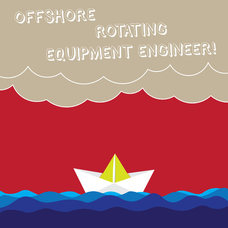 Word writing text Offshore Rotating Equipment Engineer. Business concept for Oil and gas industry engineering Wave Heavy Clouds and Paper Boat Seascape Scene photo Blank Copy Space