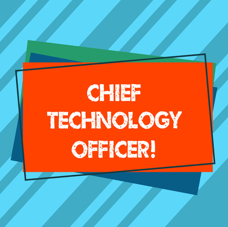 Writing note showing Chief Technology Officer. Business photo showcasing focused on scientific and technological issues Pile of Blank Rectangular Outlined Different Color Construction Paper