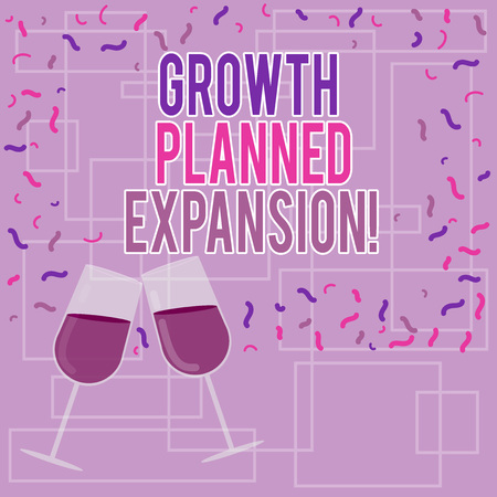 Text sign showing Growth Planned Expansion. Conceptual photo exposing the business to a wider customers Filled Wine Glass Toasting for Celebration with Scattered Confetti photo