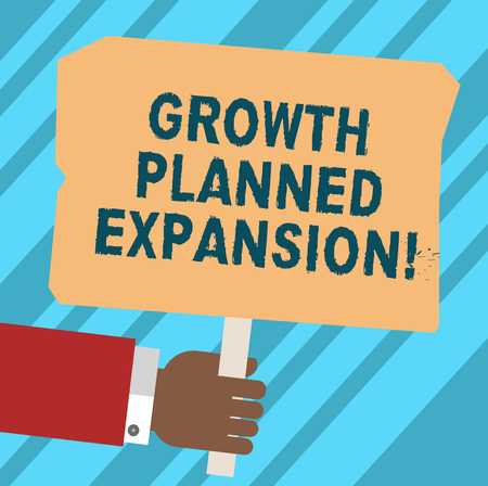 Word writing text Growth Planned Expansion. Business concept for exposing the business to a wider customers Hu analysis Hand Holding Blank Colored Placard with Stick photo Text Space