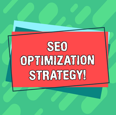 Word writing text Seo Optimization Strategy. Business concept for process of organizing a website s is content Pile of Blank Rectangular Outlined Different Color Construction Paper Banque d'images