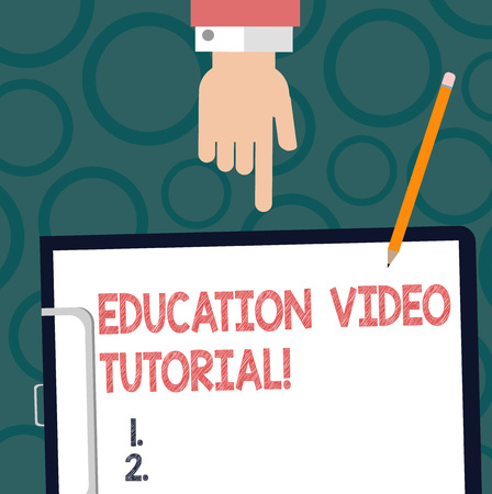 Text sign showing Education Video Tutorial. Conceptual photo method of transferring knowledge through video Hu analysis Hand Pointing Down to Clipboard with Blank Bond Paper and Pencil 스톡 콘텐츠