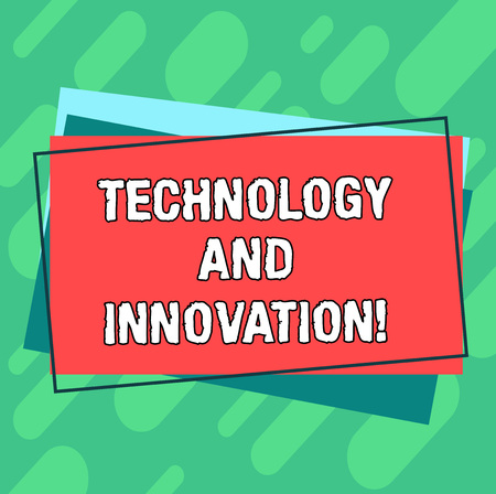 Word writing text Technology And Innovation. Business concept for Technological changes of products and services Pile of Blank Rectangular Outlined Different Color Construction Paper