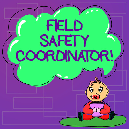 Handwriting text Field Safety Coordinator. Concept meaning Ensure compliance with health and safety standards Baby Sitting on Rug with Pacifier Book and Blank Color Cloud Speech Bubble