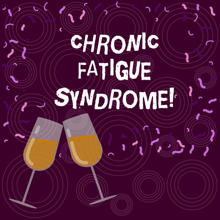 Writing note showing Chronic Fatigue Syndrome. Business photo showcasing debilitating disorder described by extreme fatigue Filled Wine Glass for Celebration with Scattered Confetti photo 写真素材
