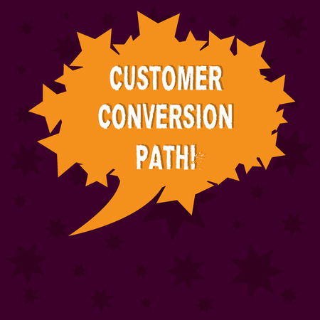 Writing note showing Customer Conversion Path. Business photo showcasing steps that user went through over the website Blank Oval Color Speech Bubble with Stars as Outline photo Text Space Reklamní fotografie