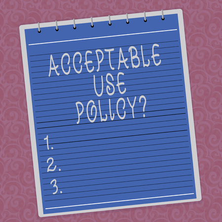 Writing note showing Acceptable Use Policyquestion. Business photo showcasing set of rules applied by the owner of a network Lined Spiral Top Color Notepad photo on Watermark Printed Background Stock Photo