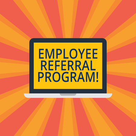 Text sign showing Employee Referral Program. Conceptual photo hire best talent from employees existing networks Laptop Monitor Personal Computer Device Tablet Blank Screen for Text Space