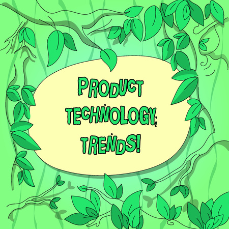 Handwriting text Product Technology Trends. Concept meaning Readily accepted in the market Becoming popular Tree Branches Scattered with Leaves Surrounding Blank Color Text Space 版權商用圖片
