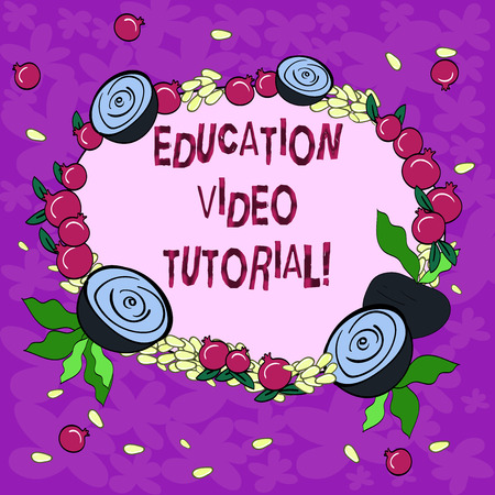 Conceptual hand writing showing Education Video Tutorial. Business photo showcasing method of transferring knowledge through video Floral Wreath made of Tiny Seeds Small Glossy Pomegranate Stock fotó