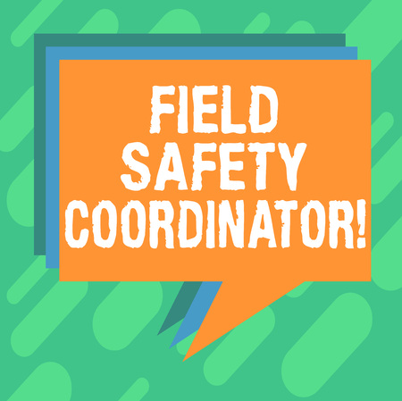 Conceptual hand writing showing Field Safety Coordinator. Business photo showcasing Ensure compliance with health and safety standards Stack of Speech Bubble Different Color Piled Text Balloon