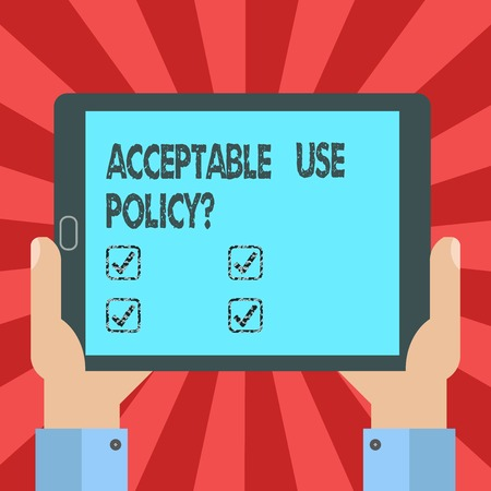 Conceptual hand writing showing Acceptable Use Policy question. Business photo text set of rules applied by the owner of a network analysis Hand Holding Tablet Smartphone Display Unit photo Stock fotó